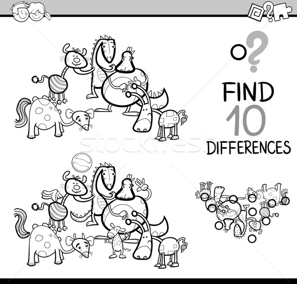 Différences tâche livre de coloriage blanc noir cartoon illustration Photo stock © izakowski