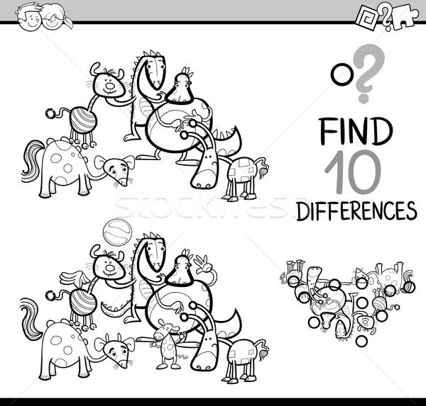 Diferenças tarefa livro para colorir preto e branco desenho animado ilustração Foto stock © izakowski