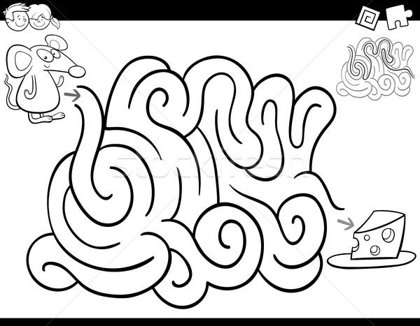 Labirent Oyun Boyama Kitabı Siyah Beyaz Karikatür