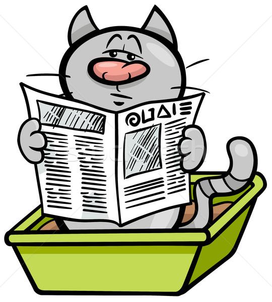 cat in litter box cartoon Stock photo © izakowski