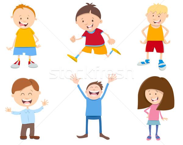 Сток-фото: Cute · Cartoon · детей · набор · иллюстрация