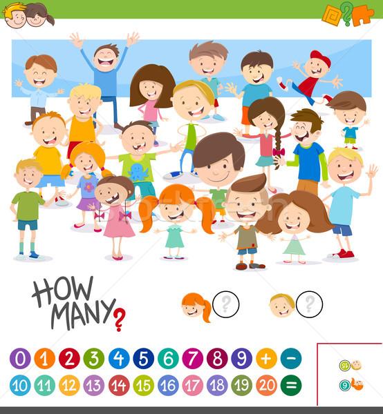 cartoon game of counting children Stock photo © izakowski