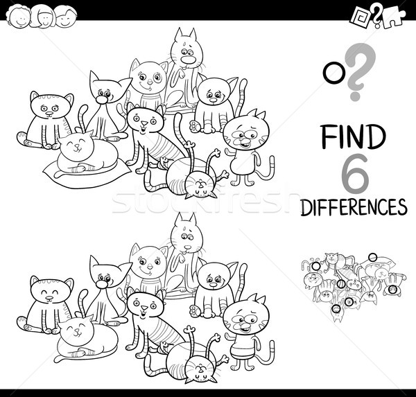 Place différence chats livre de coloriage blanc noir cartoon Photo stock © izakowski