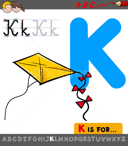 letter k with cartoon kite toy object Stock photo © izakowski