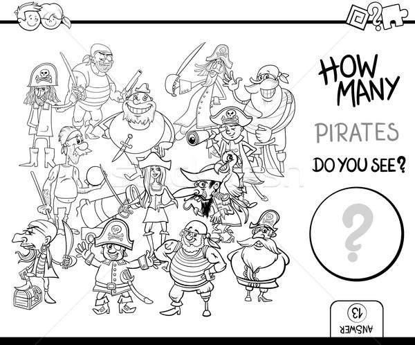 counting pirates coloring page activity Stock photo © izakowski