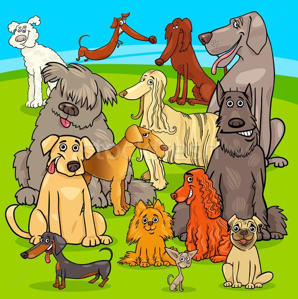 breed dogs cartoon characters group Stock photo © izakowski