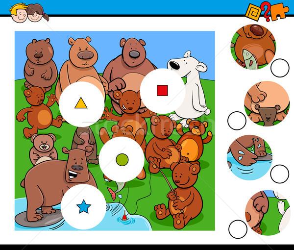 Match pezzi puzzle orso animali cartoon Foto d'archivio © izakowski