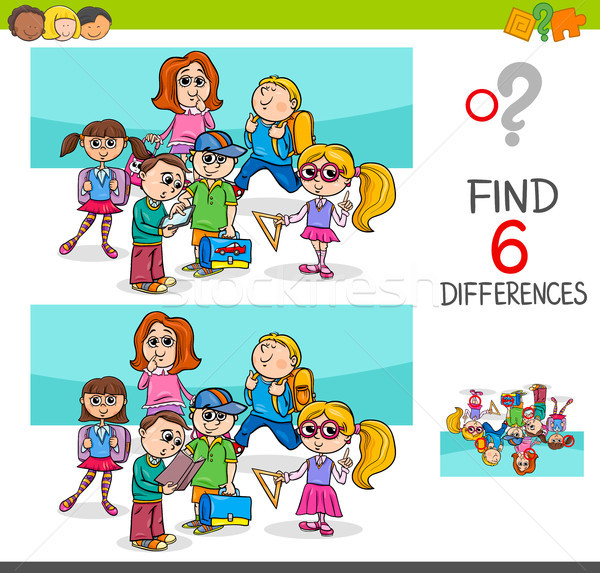 find differences with school children characters Stock photo © izakowski
