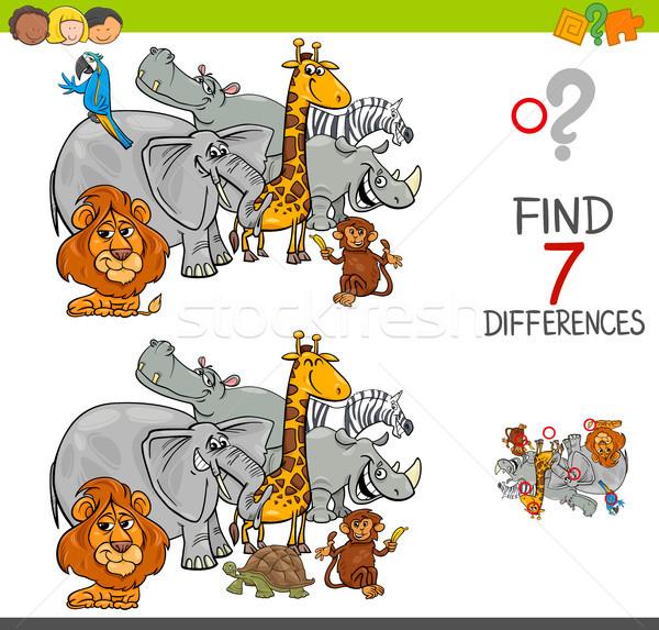 Vinden verschillen safari dieren cartoon illustratie Stockfoto © izakowski