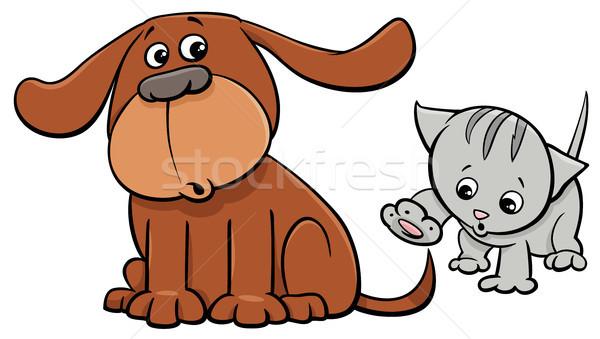 puppy and kitten characters cartoon illustration Stock photo © izakowski