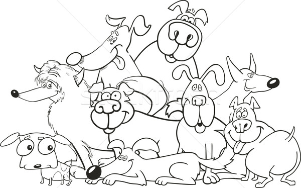 cartoon dogs group for coloring book vector illustration © Igor ...
