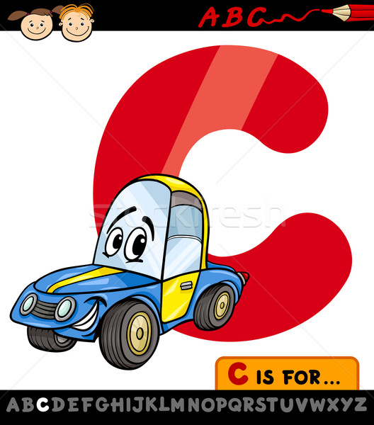 letter c with car cartoon illustration Stock photo © izakowski