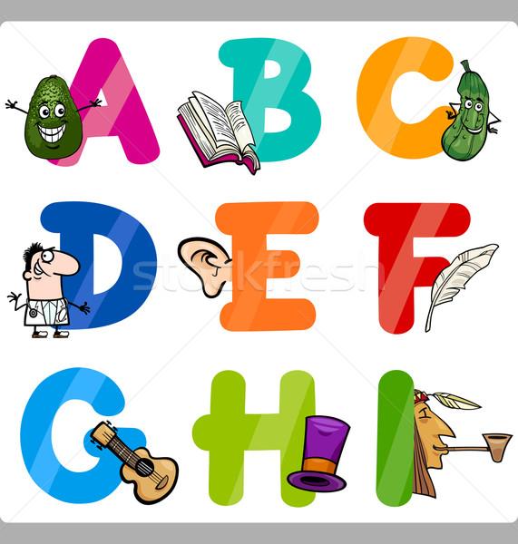 Oktatás rajz ábécé levelek gyerekek illusztráció Stock fotó © izakowski