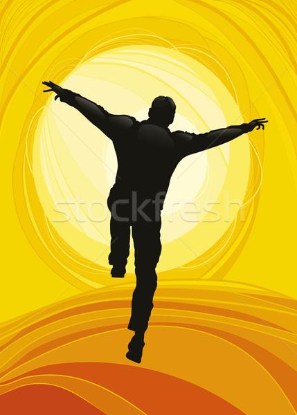 Happy Man Jumping Stock photo © izakowski