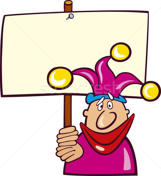 Funny Jester with Board Stock photo © izakowski