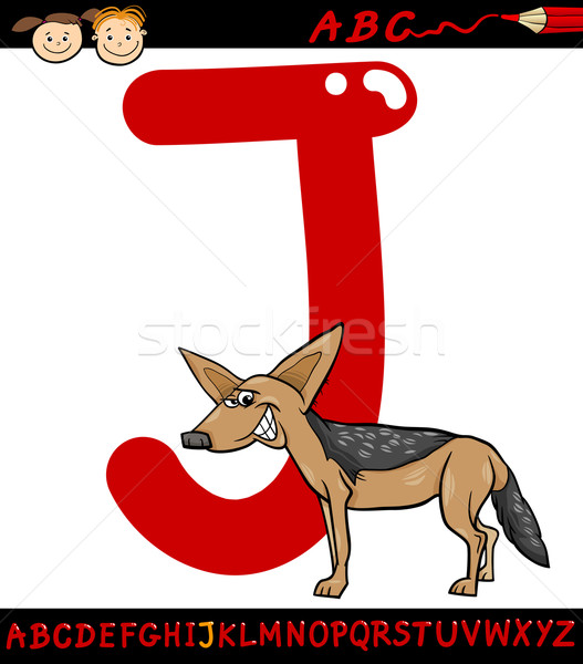 letter j for jackal cartoon illustration Stock photo © izakowski