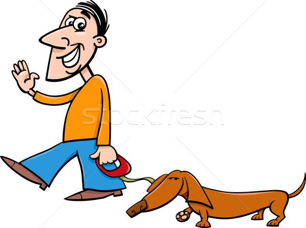 Férfi tacskó rajz illusztráció kutya séta Stock fotó © izakowski