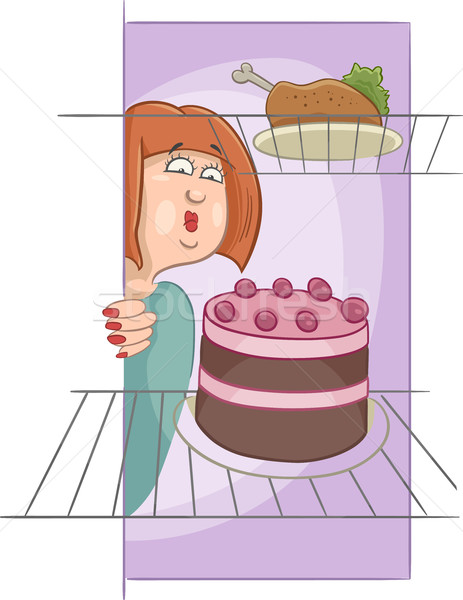 hungry woman on diet cartoon Stock photo © izakowski