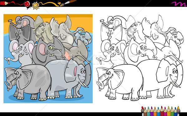 Imagine de stoc: Desen · animat · elefantii · ilustrare · animal
