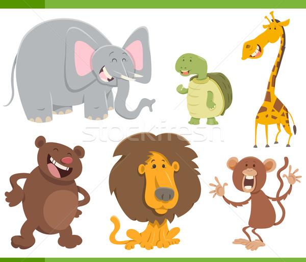 милые животные Cartoon набор иллюстрация Cute Сток-фото © izakowski