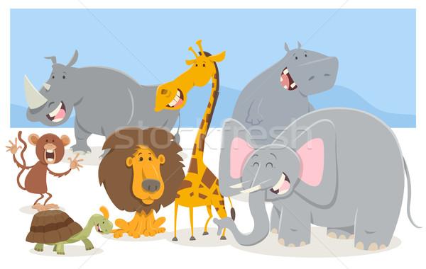 Szafari állat betűk csoport rajz illusztráció Stock fotó © izakowski