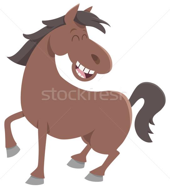 Aranyos ló haszonállat rajz illusztráció boldog Stock fotó © izakowski