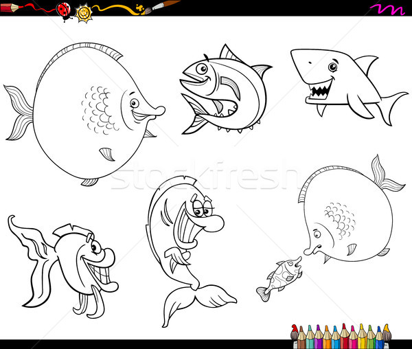 cartoon fish set coloring book Stock photo © izakowski