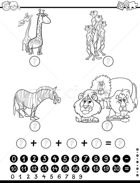 Stock photo: maths activity worksheet coloring page