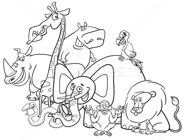 Zwart wit safari dieren groep cartoon illustratie safari Stockfoto © izakowski