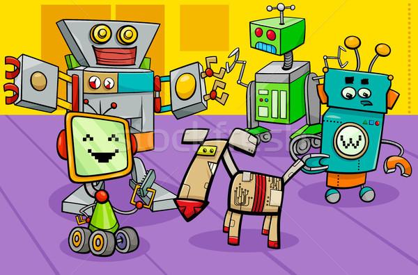 robot characters group cartoon illustration Stock photo © izakowski