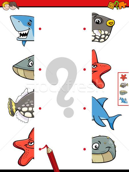 match animal halves cartoon game Stock photo © izakowski