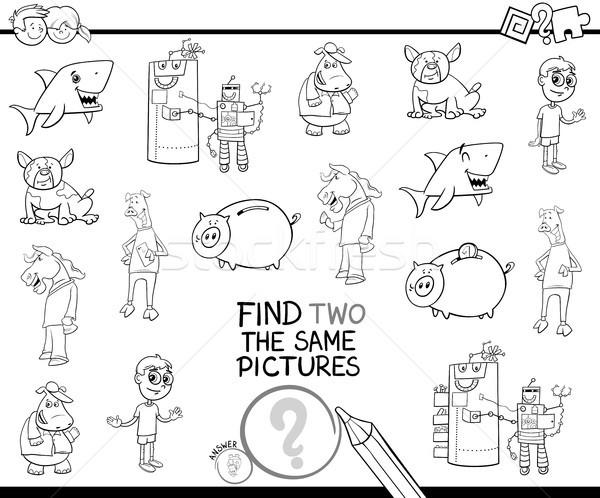 Talál kettő képek kifestőkönyv feketefehér rajz Stock fotó © izakowski