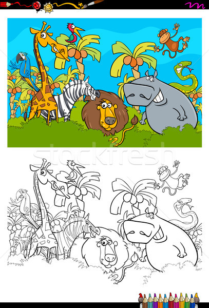 Cartoon Safari animaux livre de coloriage illustration Photo stock © izakowski