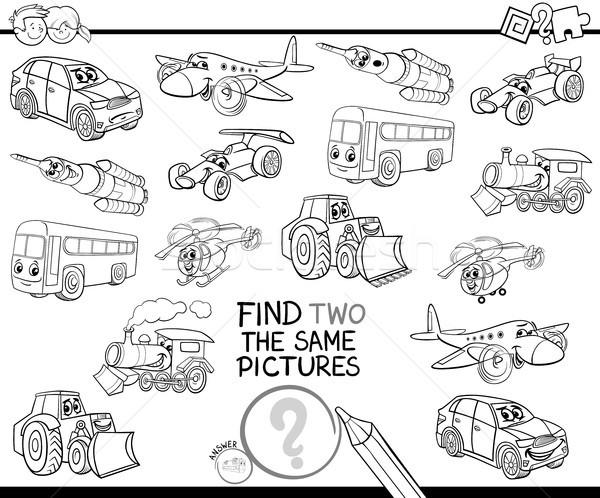 Bulmak iki araçlar boyama kitabı siyah beyaz karikatür Stok fotoğraf © izakowski
