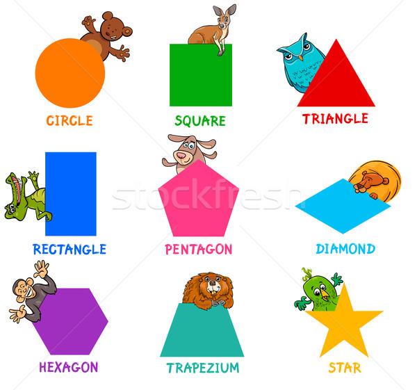 Geometrischen Formen Tier Zeichen pädagogisch Karikatur Stock foto © izakowski