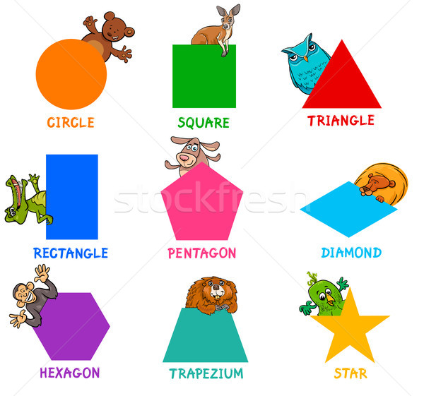 geometric shapes with animal characters Stock photo © izakowski