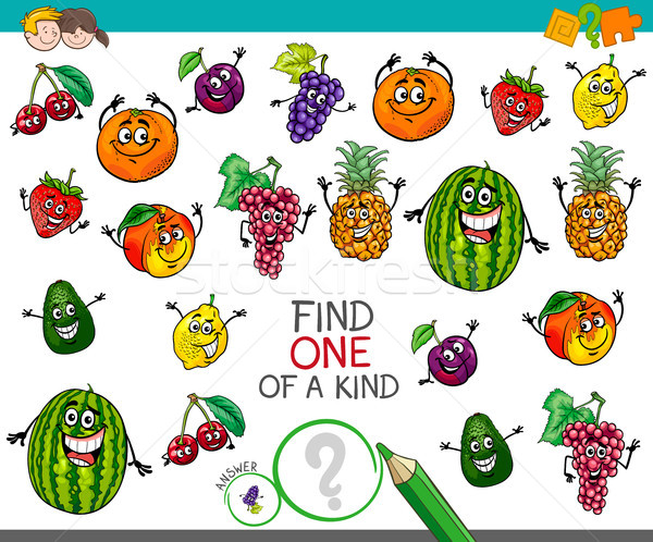 one of a kind activity with fruit characters Stock photo © izakowski