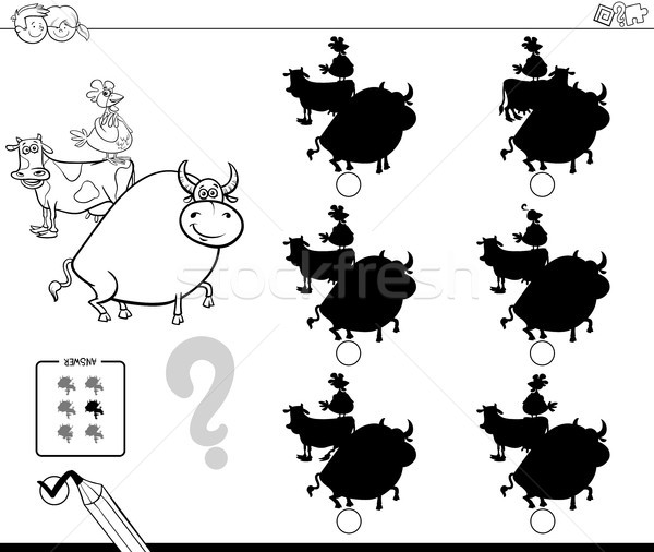 Boerderijdieren schaduwen spel kleurboek zwart wit cartoon Stockfoto © izakowski