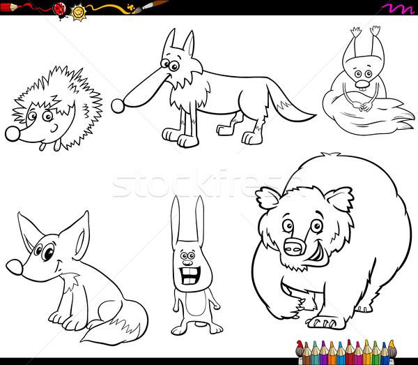 wild animal characters set coloring book Stock photo © izakowski