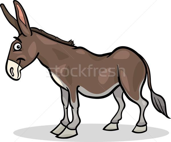 Szamár haszonállat rajz illusztráció vicces farm Stock fotó © izakowski