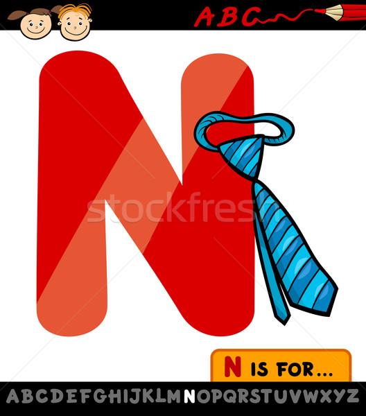 letter n with necktie cartoon illustration Stock photo © izakowski