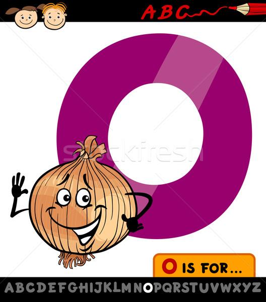 O betű hagyma rajz illusztráció nagybetű ábécé Stock fotó © izakowski