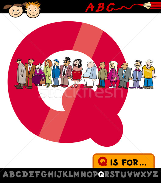 letter q with queue cartoon illustration Stock photo © izakowski