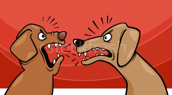 angry barking dogs cartoon illustration Stock photo © izakowski