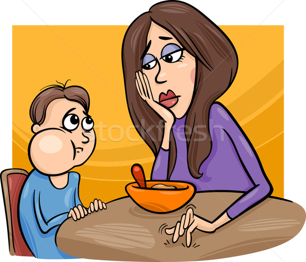 poor eater boy with mum cartoon Stock photo © izakowski