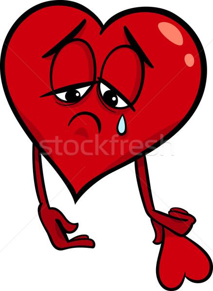 sad broken heart cartoon illustration Stock photo © izakowski