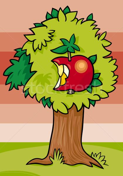nibbled apple on tree cartoon illustration Stock photo © izakowski