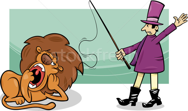 tamer and bored lion cartoon Stock photo © izakowski