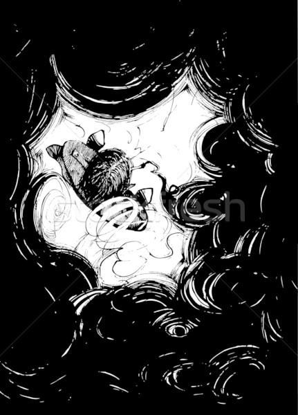 Fumador negro humo ilustración concepto Foto stock © izakowski