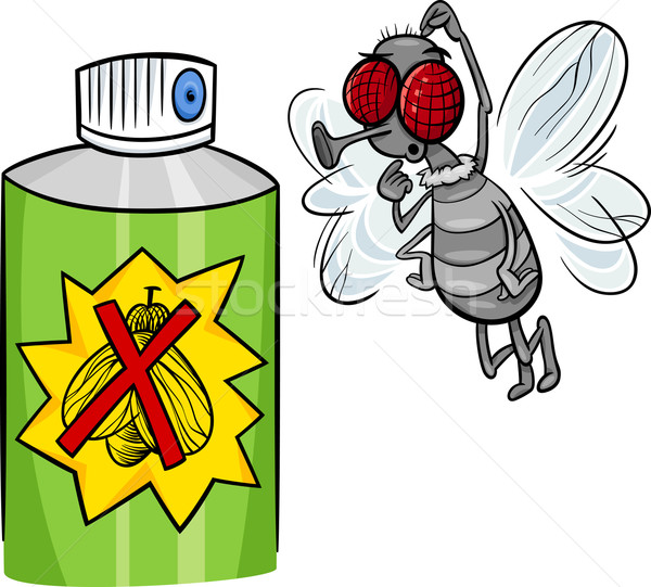 Vliegen bug spray cartoon illustratie grappig Stockfoto © izakowski